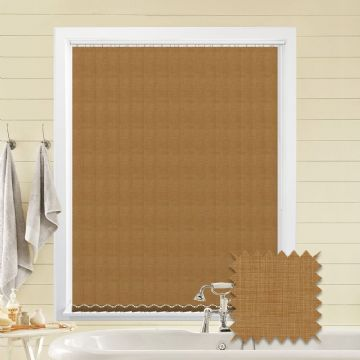 Light Brown Made to Measure Vertical Blinds in Oslo Maple fabric